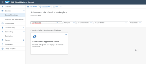 SAP Business Application Studio on SCP Marketplace